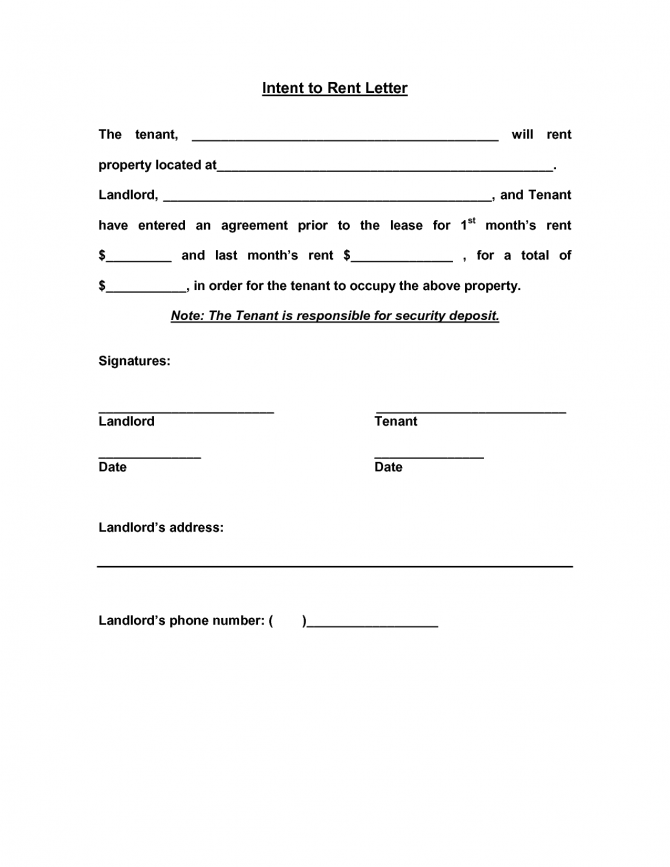 Residential Intent To Lease Letter Sample