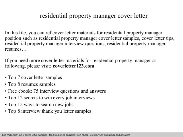 Residential Property Manager Cover Letter