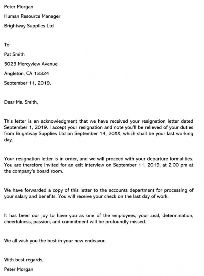 resignation acceptance letter from manager samples  u0026 templates download
