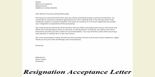 Resignation Acknowledgment And Acceptance Letter