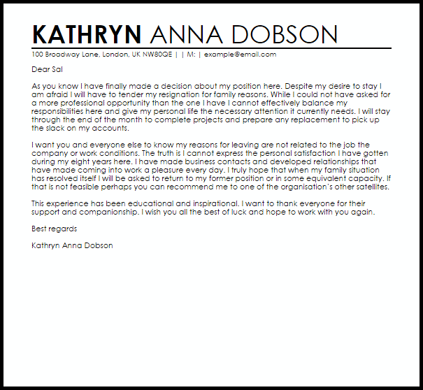 Resignation Letter Example Due To Family Reasons