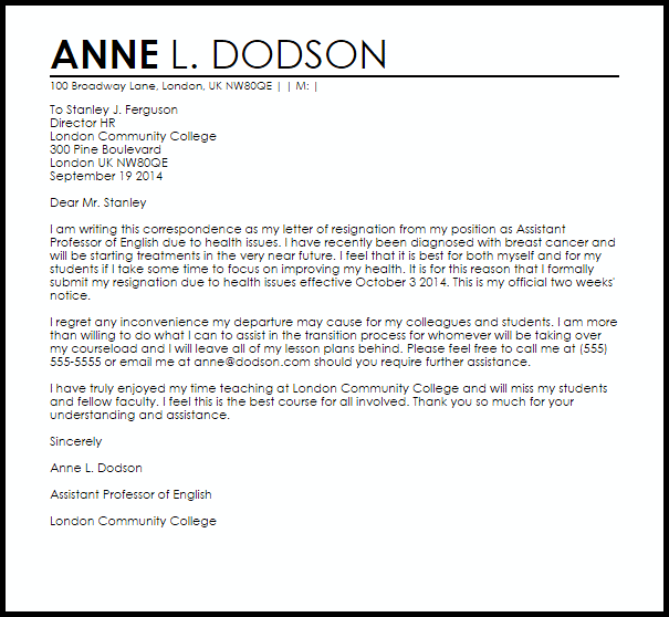 Resignation Letter Example Due To Health