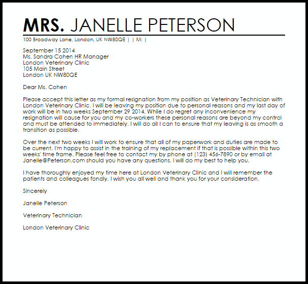 Resignation Letter Example Due To Personal Reasons