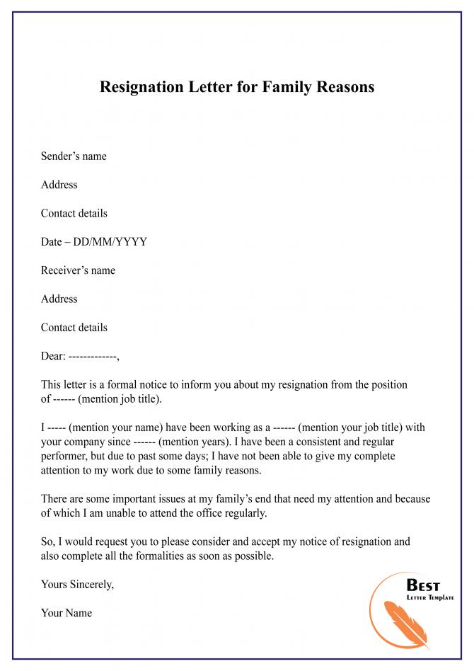 Resignation Letter For Family Reasons