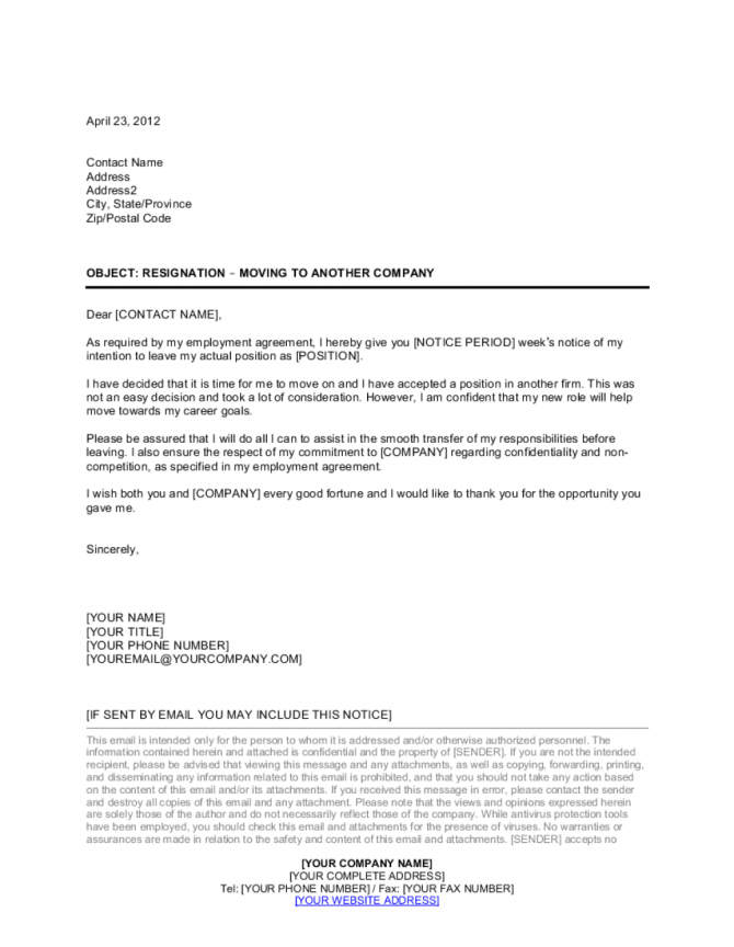 Resignation Letter Moving To Another Company Template
