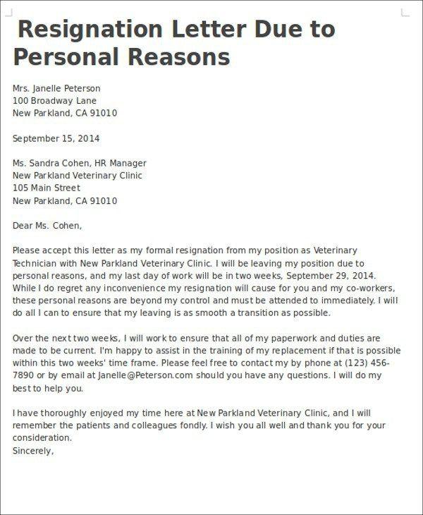 Resignation Letter Sample Doc Family Reason