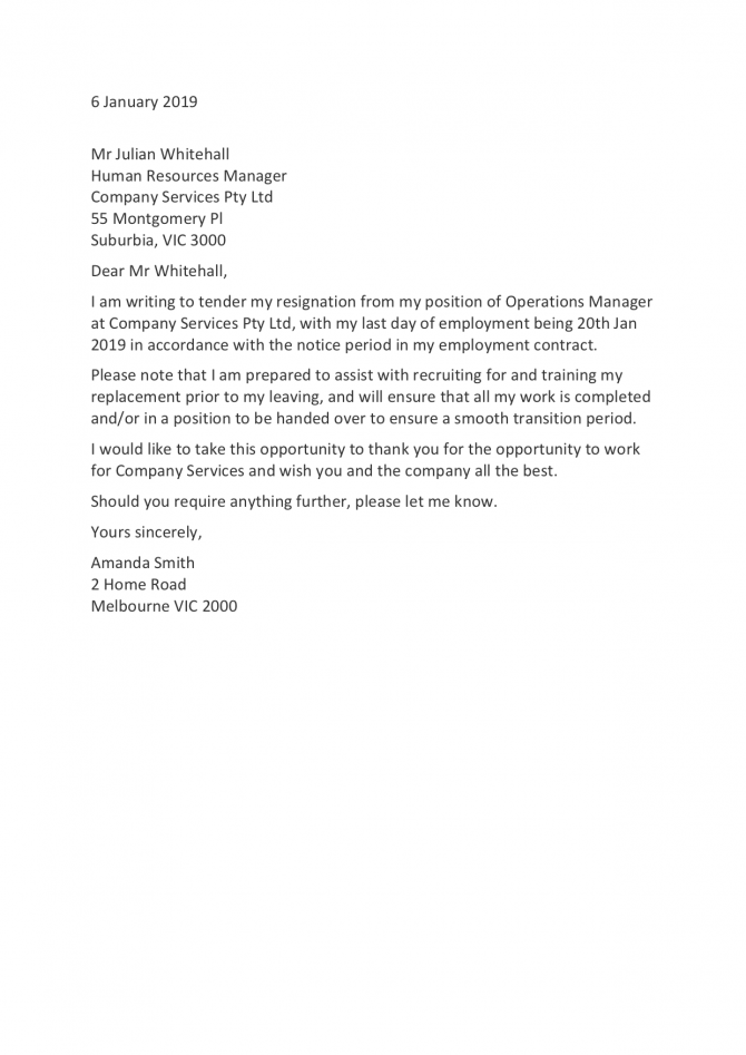 Resignation Letter Templates How To Resign In