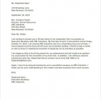 Resignation Letter With Notice Period