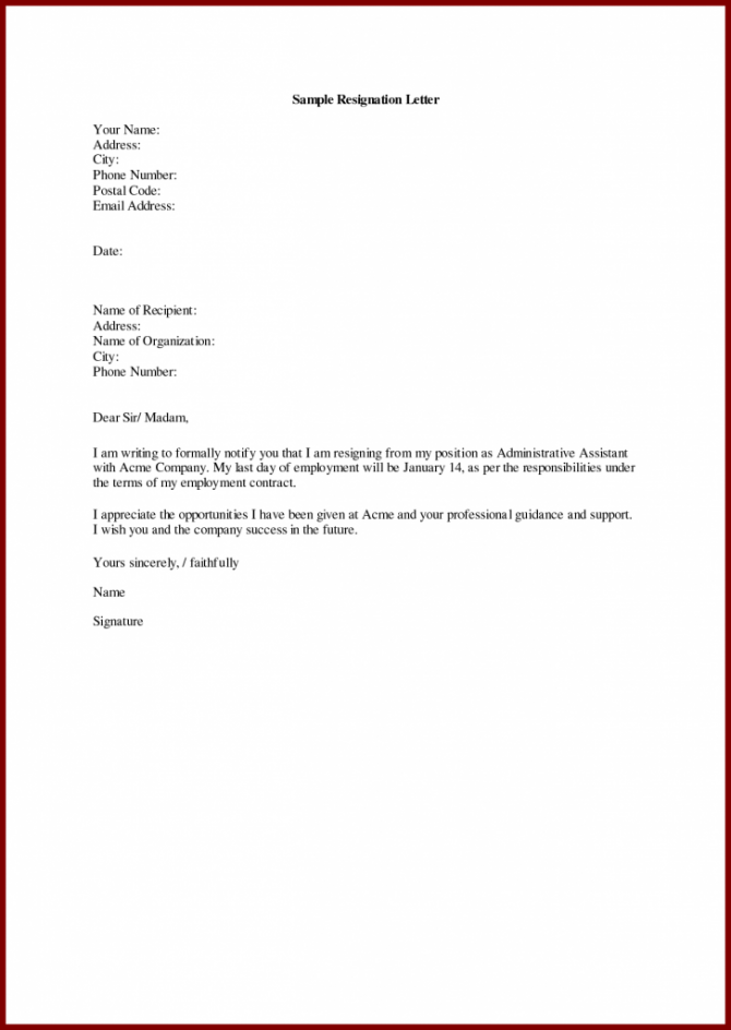 Resignation Letters For Personal Reasons In