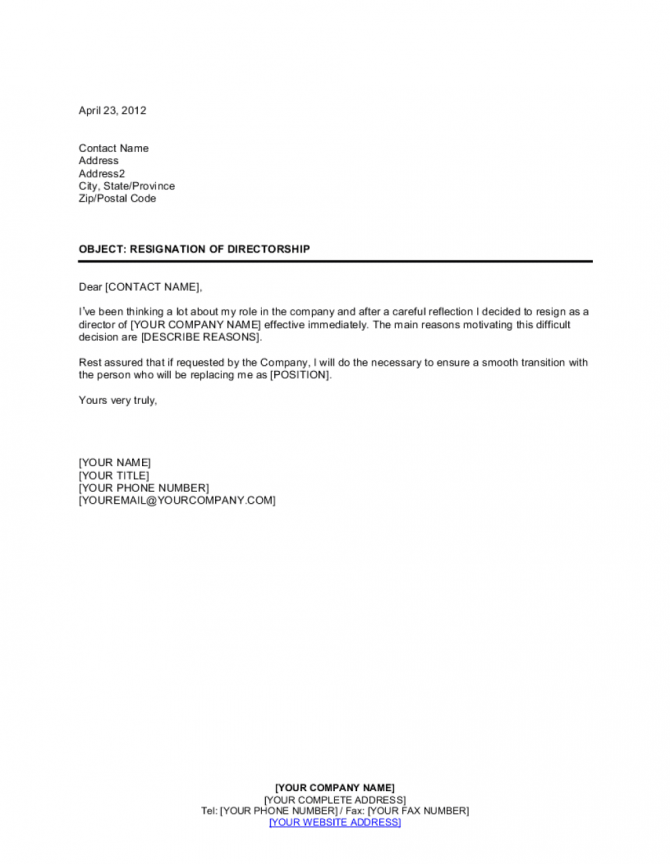 Resignation Of Directorship Template