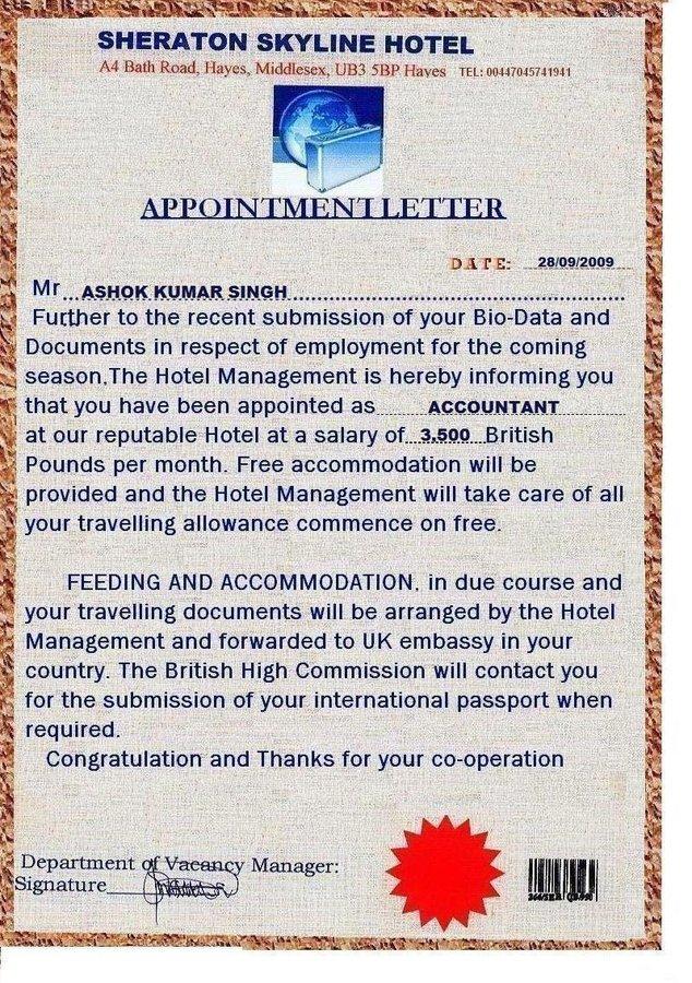 Resolved Sheraton Skyline Hotel  Verification Of Offer Letter