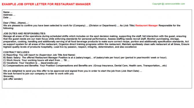 Restaurant Manager Offer Letter