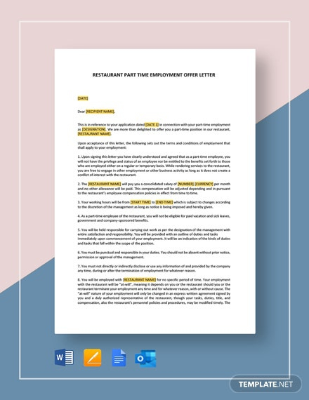 Restaurant Part Time Employment Offer Letter Template