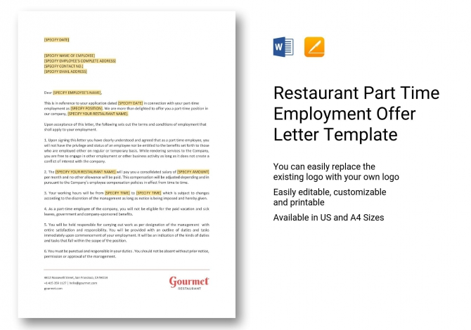 Restaurant Part Time Employment Offer Letter Template In Word