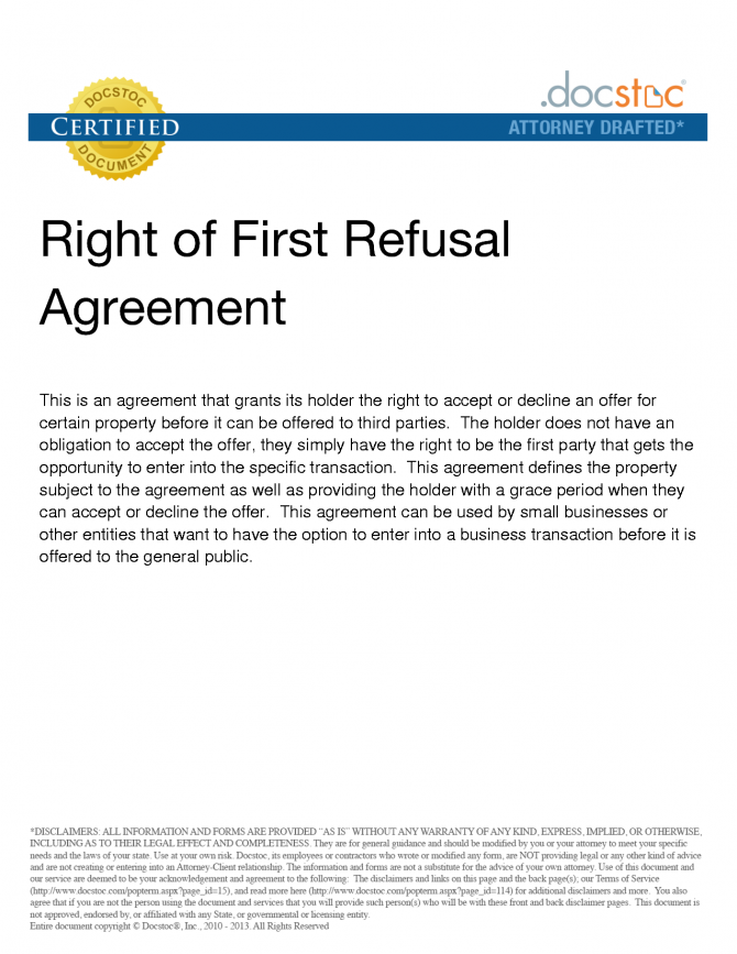 Right Of First Refusal The Picture Is A Example Of Right Of Fist