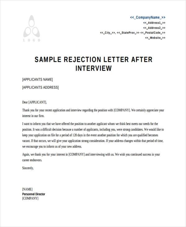 Sample Applicant Rejection Letter  Cnbam