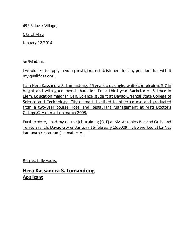 Sample Application Letter In Hotel And Restaurant