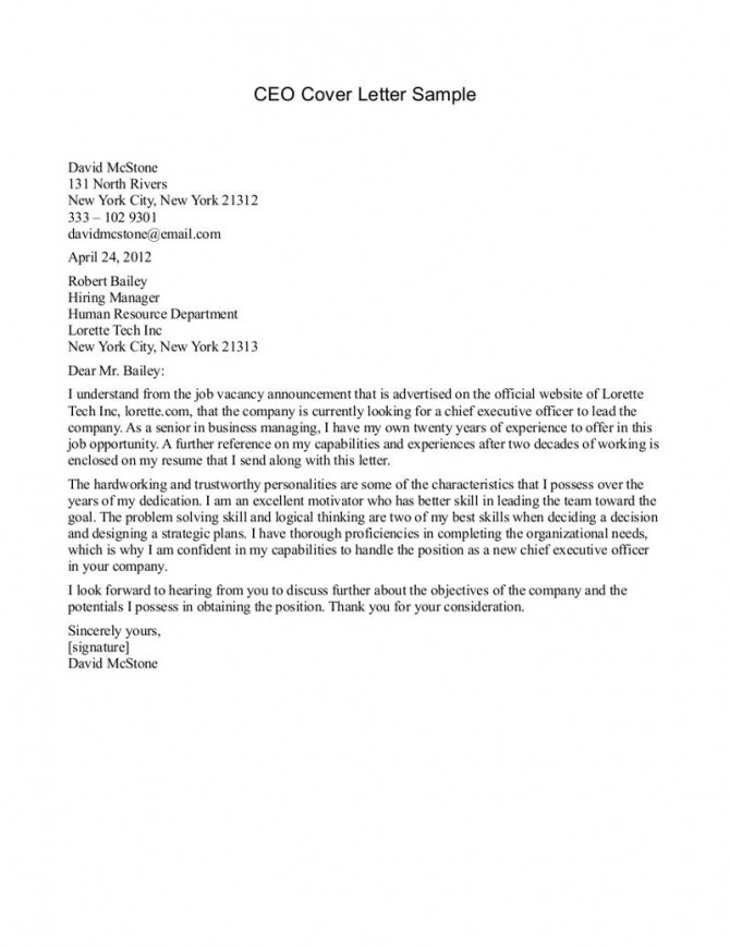 Sample Business Letter To A Ceo