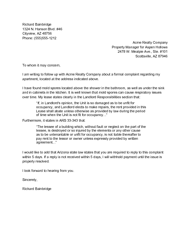 Sample Complaint Letter To Property Manager