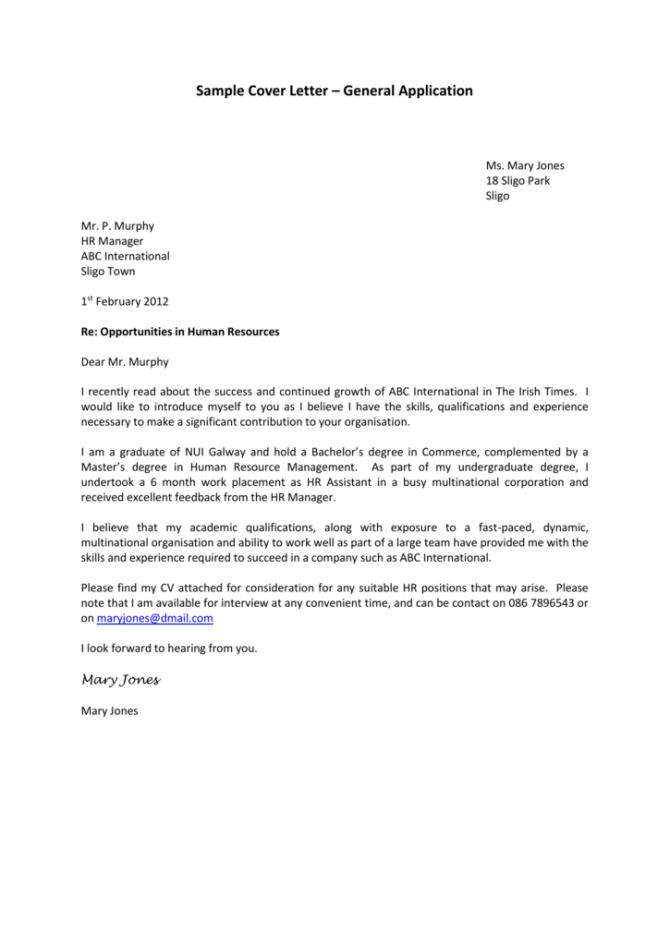 Sample Cover Letter  General Application