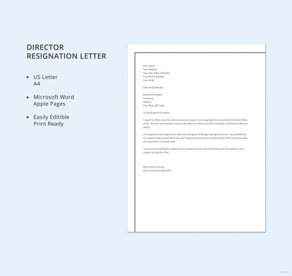 Sample Director Resignation Letters