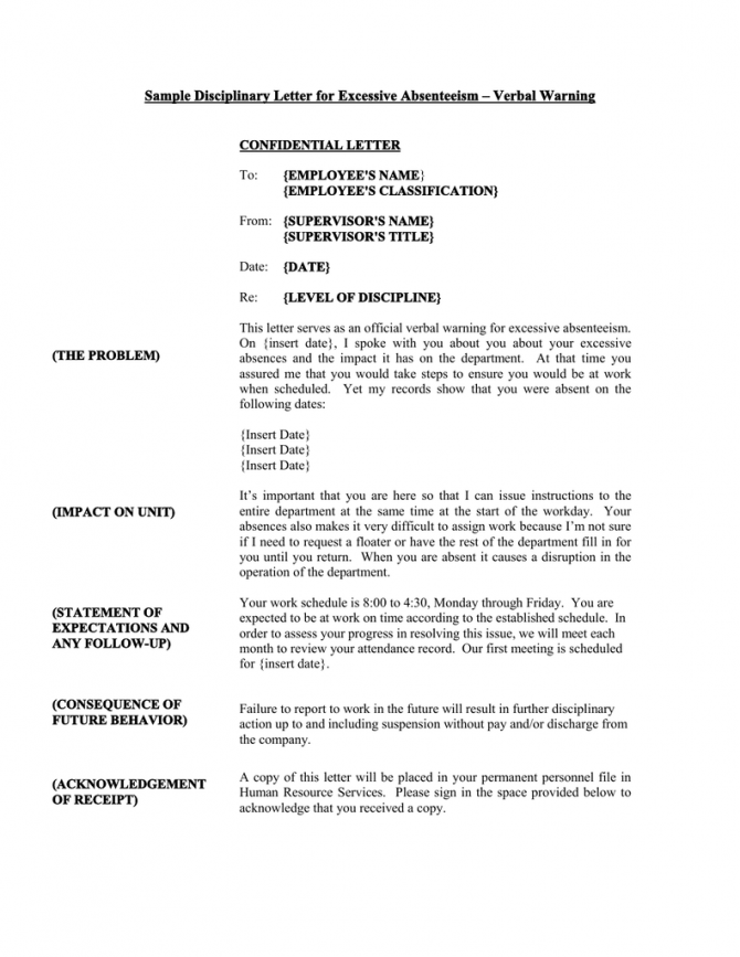 Sample Disciplinary Letter For Excessive Absenteeism  Verbal