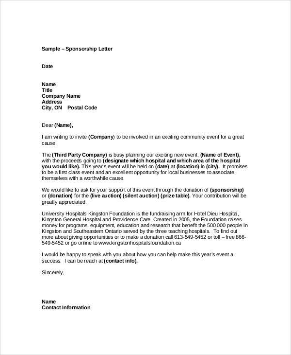 Sample Event Sponsorship Letter Documents Pdf Word Download