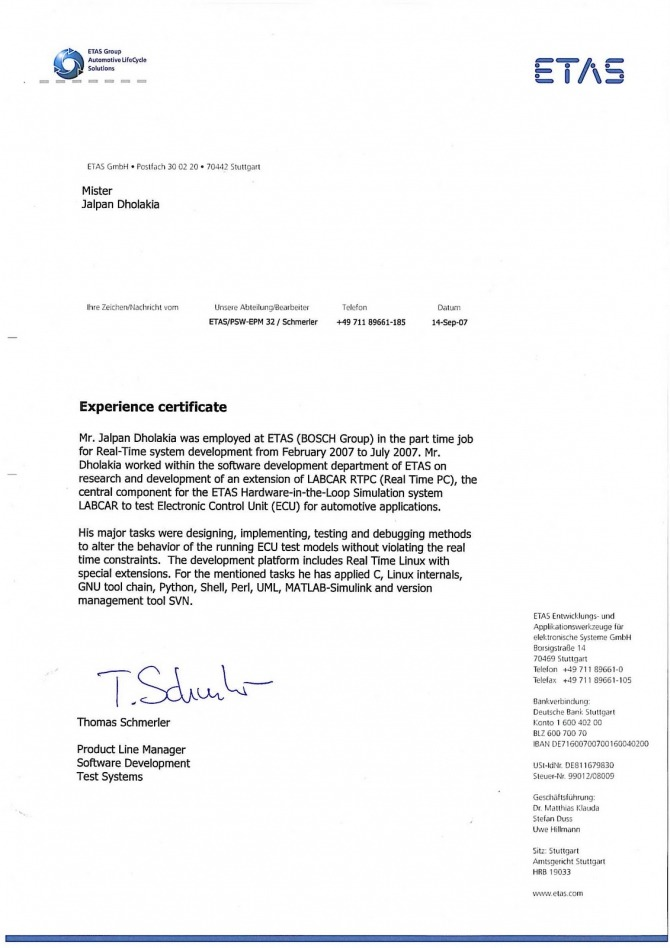 Sample Experience Certificate For Engineers