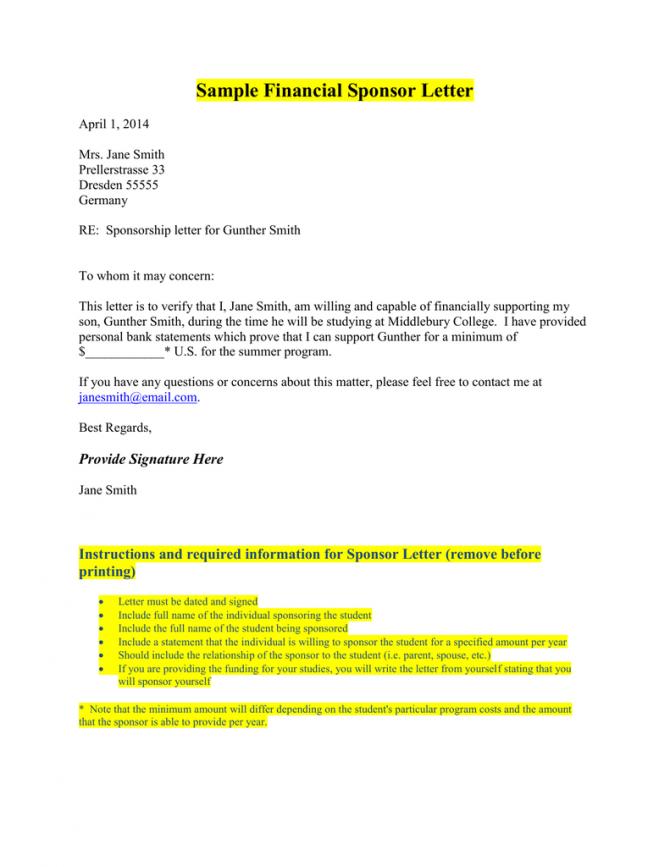 Sample Financial Sponsor Letter