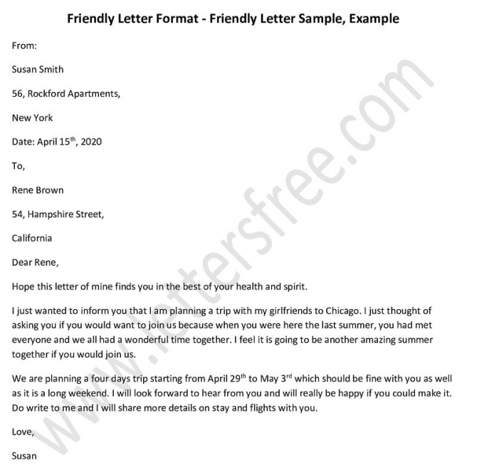 Sample Friendly Letter Format In This Post  We Have Come Up With