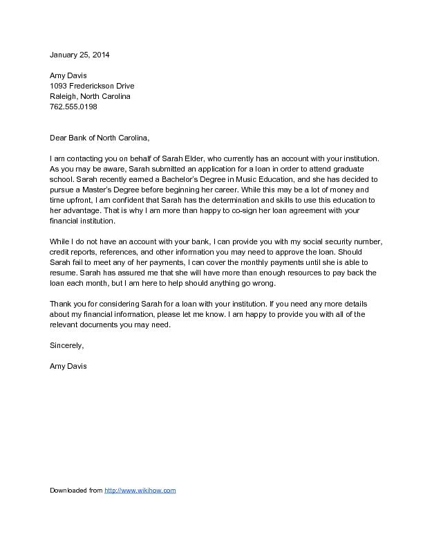 Sample Guarantor Letter For Loan