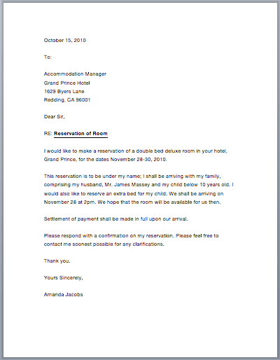 Sample Hotel Reservation Letter