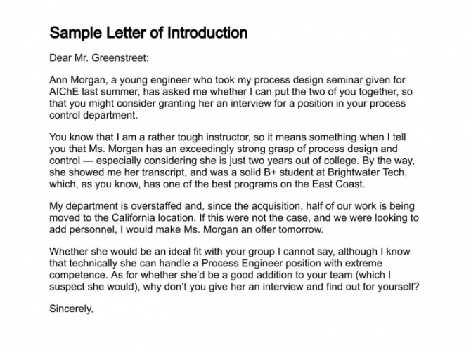 Sample Introduction Letters
