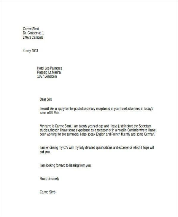 Sample Job Application Letter For Receptionist