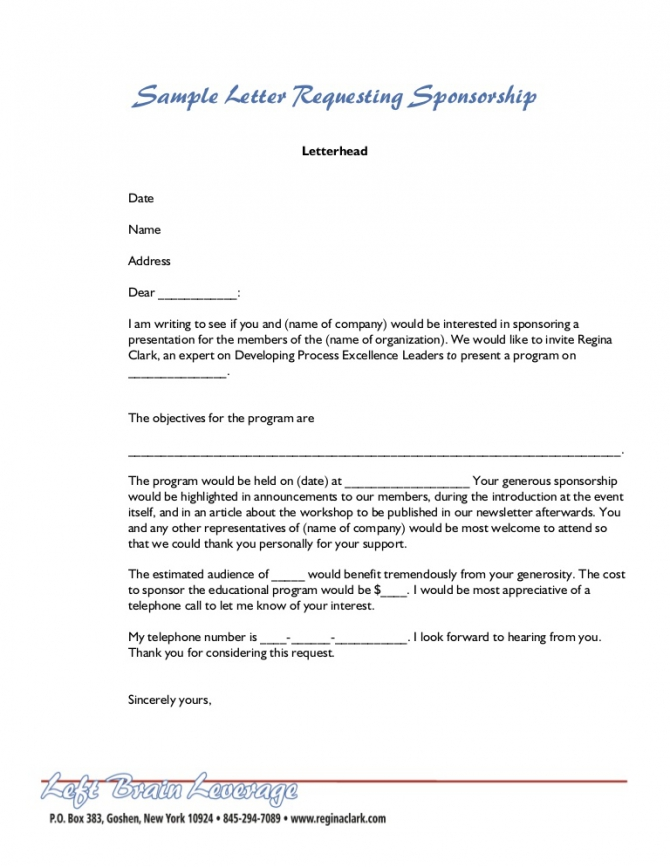 Sample Letter For Sponsorship