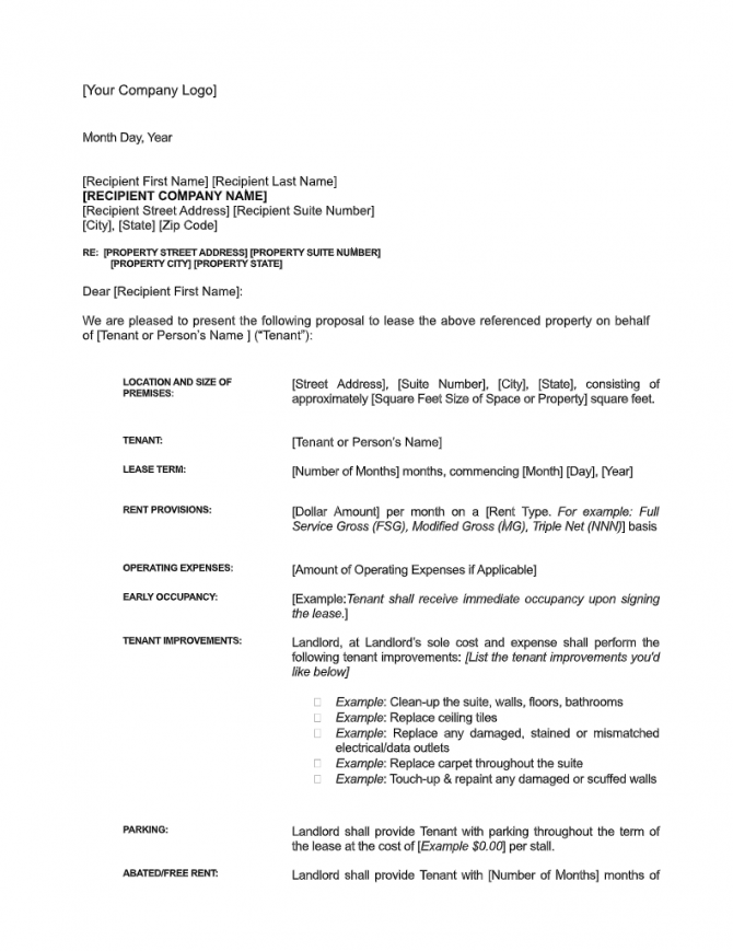 Sample Letter Of Intent For Commercial Lease Free Download
