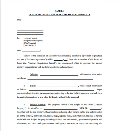 Sample Letter Of Intent Of Real Property Letter Of Intent Template