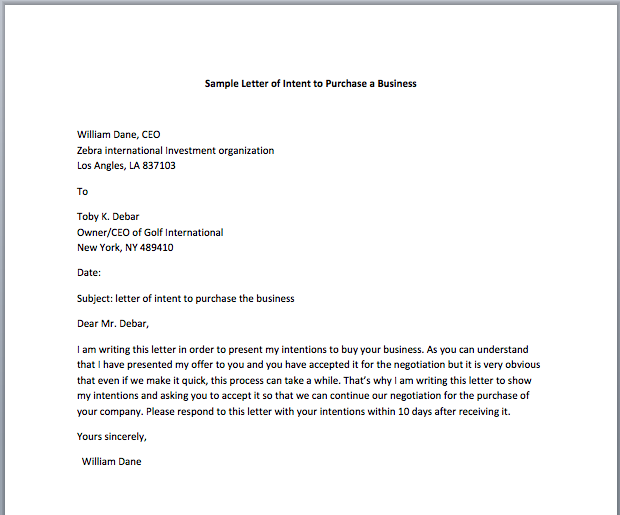 Sample Letter Of Intent To Purchase A Business