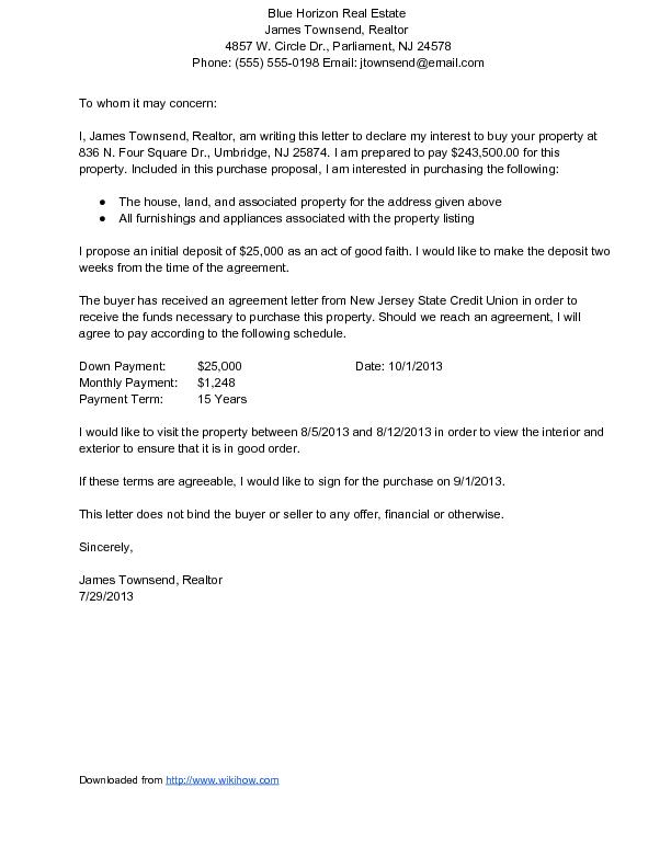 Sample Letter Of Interest For House