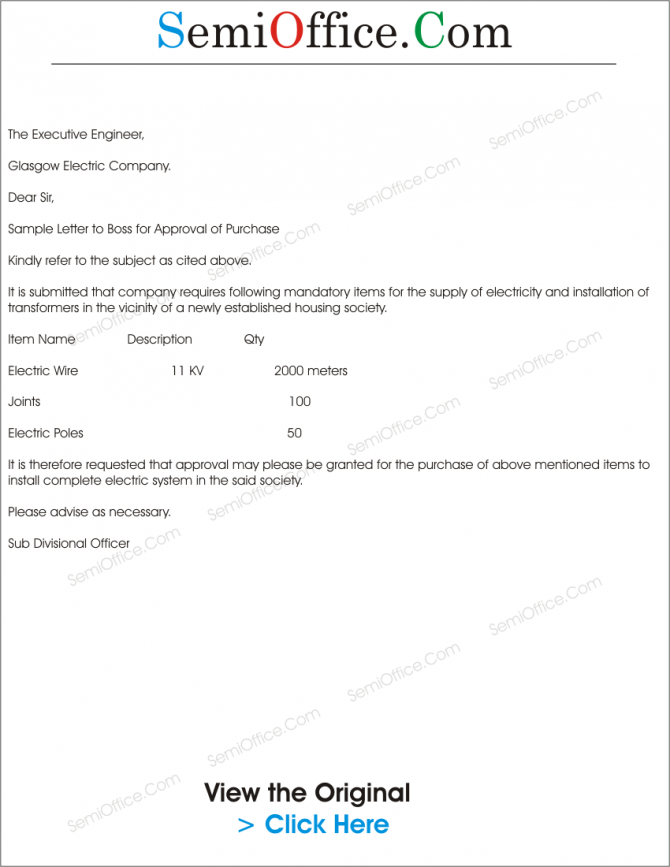 Sample Letter To Boss For Approval Of Purchase