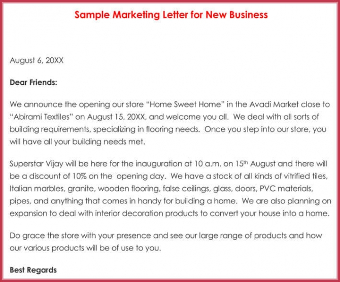 Sample Marketing Letters
