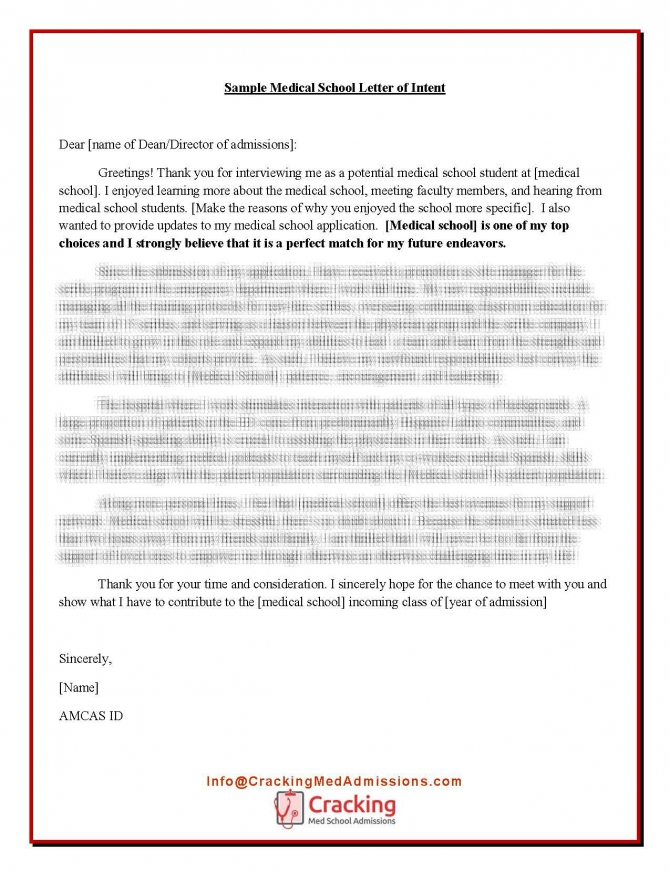 Sample Medical School Letter Of Intent How To Write A Stellar Letter