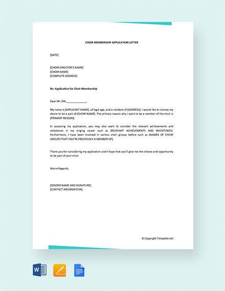 Sample Membership Application Letters