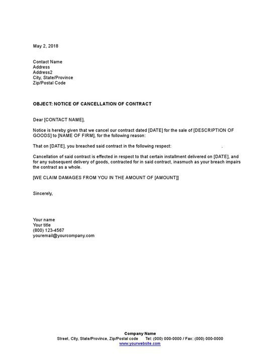 Sample Notice Of Cancellation Of Contract Template