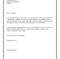 Simple Job Application Letter For Employment