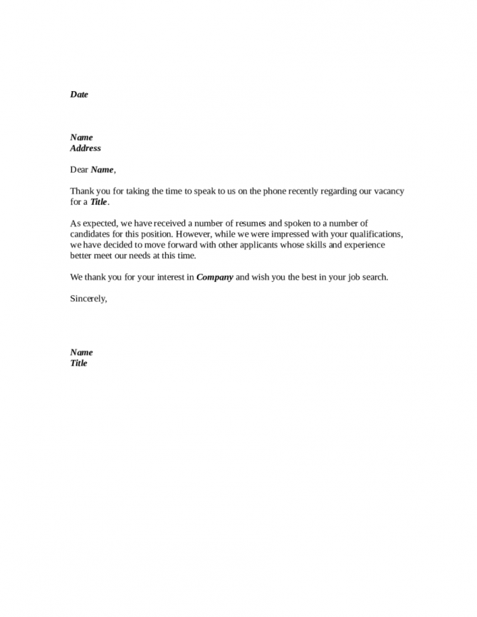 Sample Phone Interview Rejection Letter Template