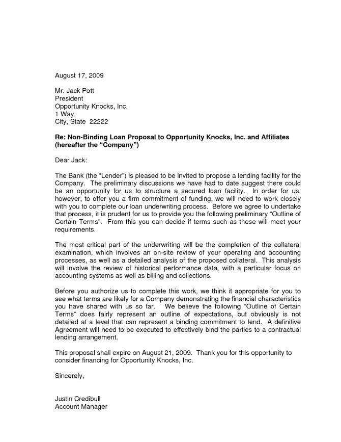 Sample Proposal Letter To Bank Letter