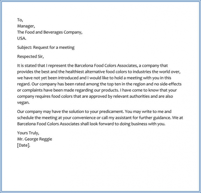 Sample Request Letter For Business Meeting Appointment