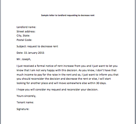 Sample Request Letter To Landlord Requesting To Decrease Rent
