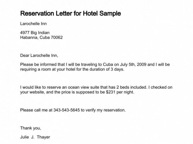 Sample Reservation Letters
